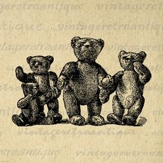 Digital Graphic Teddy Bears Printable by VintageRetroAntique
