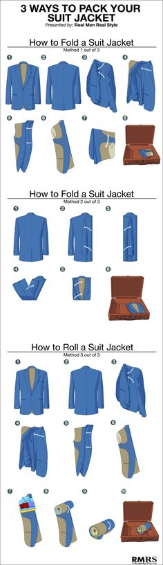 3 Ways To Fold A Suit Jacket Sport Jackets Blazer Jackets - Helpful for business travel! #DressForSuccess