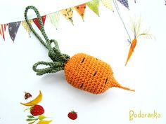 Crochet Rattle Carrot Baby Toy by Podarenka on Etsy, $27.00