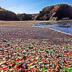 """Glass Beach """"When driving north on Hwy. 1, turn left on Elm St. Drive down till you see the parking area facing the sea. Walk on the path, which runs parallel with a chain link fence. When you reach the end of the fence [almost at the edge of a cliff] be sure and turn left [south] and follow the path down to the beach""""."""