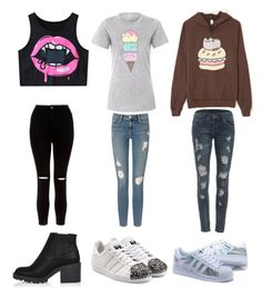 """""""Untitled #1395"""" by llamapoop ❤ liked on Polyvore featuring Pusheen, WithChic, Frame Denim, New Look, River Island and adidas Originals"""