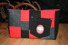 Handtaschen Organizer Taschenhüpfer Jeans schwarz rot