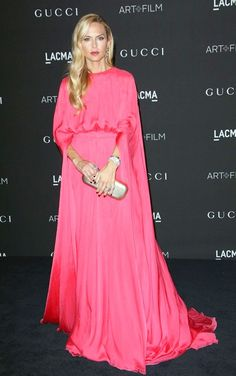 Rachel Zoe in a flowing cerise pink Valentino gown