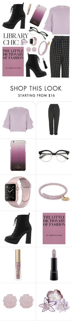 """""""Library chic, Lavender - Contest Entry"""" by roses-are-beauty ❤ liked on Polyvore featuring River Island, Topshop, Kate Spade, Alex and Ani, Too Faced Cosmetics, MAC Cosmetics and AERIN"""