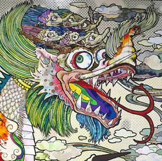 "Takashi Murakami's ""The 500 Arhats"" 2016 art exhibition at Mori Art Museum images Superflat, Murakami Artist, Takashi Murakami Art, Japanese Pop Art, Japanese Artists, Kunst Inspo, Art Inspo, Modern Art, Contemporary Art"