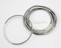 Grey Leather Bangle Bracelet with sterling silver tubes by Chipo4u, $22.00