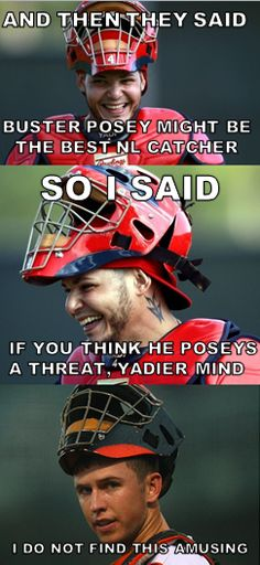 Buster Posey and Yadier Molina. St Louis Baseball, St Louis Cardinals Baseball, Stl Cardinals, Buster Posey, Yadier Molina, Mlb, Baseball Memes, Baseball Wall, No Crying In Baseball