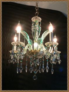 Petite antique green hand made Venetian by EnzosUniqueLighting