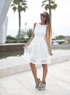 White dress and wedges