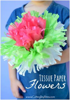 Tissue Paper Flowers- Classic Kids Craft.  Perfect spring or summer project for preschoolers, kindergarteners, or elementary children.  Make a whole colorful flower bouquet!