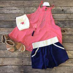 #NEWARRIVALS  #Coral #HalterNeck #Top $19.99 S&L #Navy #CrochetWaist #Shorts $19.99 S-L #Fringe #Sandals $22.99 5.5-8.5, 9&10 #Necklace $12.99 #Earrings $9.99 #TubeTop $7.49 We #ship! Call us today! 903.322.4316 #shopdcs #instashop #instafashion #shopdavi