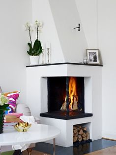 Are you lucky enough to have a living room with fireplace? A fireplace is an architectural structure designed to contain a fire. The idea of a corner fireplace living room is amazing. Small Fireplace, Home Fireplace, Fireplace Remodel, Living Room With Fireplace, Cozy Living Rooms, Fireplace Design, Fireplace Ideas, Corner Fireplaces, Fireplace Modern