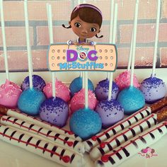Doc McStuffins themed cake pops and thermometer dipped pretzels