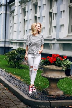 striped shirt with white jeans