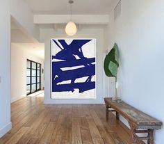 36x48 238.00 Blue And White Abstract Painting on Canvas Large by CelineZiangArt