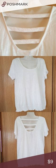 White Straps Nice Summer Top. Open back with straps across. Elastic waistline. Bust 46 Length 26 Tops Tees - Short Sleeve