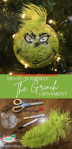 "DIY The Grinch Ornament The Grinch™ had it right all those Christmases ago when he puzzled and puzzled with his brow tipped low. ""Maybe Christmas,"" he thought, ""doesn't come from a store. Grinch Christmas Decorations, Grinch Ornaments, Christmas Ornament Crafts, Xmas Crafts, Diy Christmas Gifts, Kids Christmas, Diy Ornaments, Homemade Christmas, The Grinch Stole Christmas"