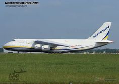 Antonov AN-124 giant aircraft landing at London Stansted Airport.
