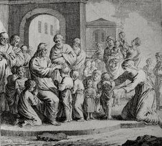 Christ's earthly ministry in the Phillip Medhurst Bible 175 of 550 Jesus blesses little children Mark 10:13-16 Schellenberg on Flickr. A print from the Phillip Medhurst Collection at St. George's Court, Kidderminster.
