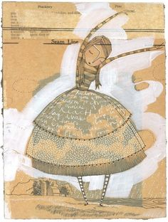 Love this illustration style mixed with a collage of words and paper by Cori Dantini.  From her Etsy shop.