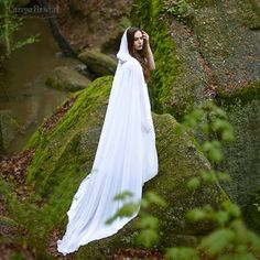 Wedding Bridal Cloak White Ivory Vanille Chiffon (polyester) Cape With Hood Handfasting Medieval Wedding Length November 2019 Wedding Cape, Wedding Jacket, Bridal Cape, Wedding Veils, Wedding Dresses, Bridal Gowns, White Cloak, Bridal Shawl, Medieval Wedding