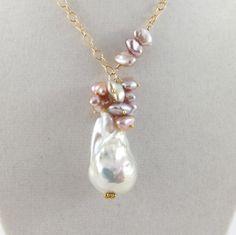 Fireball pearl necklace keshi baroque huge by SimplyAdorned4U