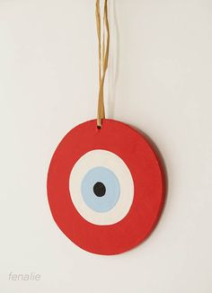 "Wooden red ""mati-evil eye"" handmade diameter 13cm"