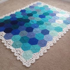 BabyLove Brand Geometric Lace Blanket/Afghan, handmade crochet beautiful color/size throw Twin Bed - custom order - via Etsy. Crochet Afghans, Crochet Hexagon Blanket, Crochet Squares, Crochet Blanket Patterns, Crochet Stitches, Knitting Patterns, Knit Crochet, Hexagon Pattern, Pattern Design