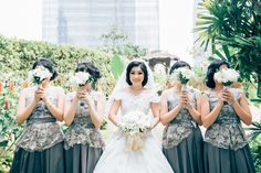 Bride and the lovely bridesmaid, with a bunch of bouquet from atrinasoendoro     #kabeatasone #bride #weddingday #weddingbouquet #bouquet #bridesmaid