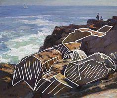 How to Paint Rocks and Cliffs - Edward Potthast, Rockbound Coast, Ogunquit, Basic Forms - Watercolor Landscape, Landscape Art, Landscape Paintings, Watercolor Paintings, Portrait Paintings, Abstract Portrait, Acrylic Paintings, Art Paintings, Acrylic Painting Techniques