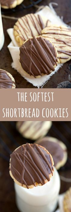 The softest shortbread cookies! With a delicious chocolate topping. The softest shortbread cookies! With a delicious chocolate topping. Cookie Desserts, Just Desserts, Cookie Recipes, Delicious Desserts, Soft Shortbread Cookie Recipe, Shortbread Recipes, Chocolate Shortbread Cookies, Shortbread Cookies With Cornstarch, Simple Cookie Recipe