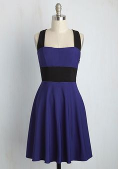 Compelling Conversation A-Line Dress. Youre deeply engrossed in thoughtful discourse with your colleagues, brimful of the self-assurance thats inspired by this colorblock dress. #blue #modcloth