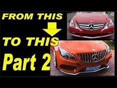 Mercedes E-class W207 facelift project, AMG bumper,Headlights,carbon fiber install part 2 - YouTube