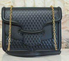 016402f7f216 Alexander McQueen Heroine black double flap diamond design chain crossbody  bag M