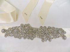 I love ribbon with stones- classic and minimal. Bridal Rhinestone Sash Beaded Applique Crystal Sash by ctroum, $130.00