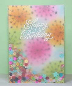 #SSS, #SSSFaves Simon Says stamp sentiment from birthday balloons heat embossed in white on vellum for this frameless shaker card, with video