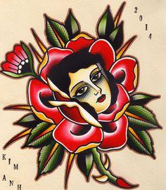 Rose tattoo flash by Kim-Ahn Nguyen, Seven Seas Tattoos, Eindhoven, The Netherlands