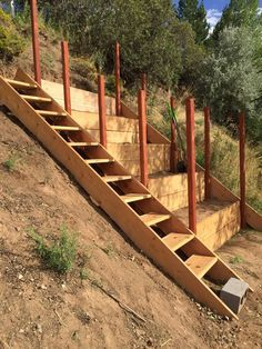 Steep hillside terraces with staircase, to be turned into a chicken coop. Sloped garden beds. DIY terraced beds.