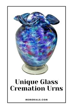 """The Sparkling Waters Companion Glass Cremation Urn is hand blown by the artist and each urn is individually crafted. The artists style of blowing is """"off hand blowing""""; he uses no molds, and does no grinding. This is a very difficult style of glass blowing as it requires """"one shot"""" accuracy. The molten glass, fired to 2300 degrees, is blown and shaped from the artist's hands with the use of simple tools. Memorial Urns, Funeral Memorial, Sparkling Waters, Granite Stone, Cremation Urns, Grinding, Marble, Hands, Memories"""