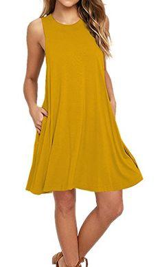 Women s Sleeveless Pockets Casual Swing T-shirt Dresses a454a3540
