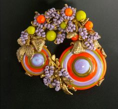 Incredible  3 Piece Miriam Haskell Swirled  Glass Parure 1960's