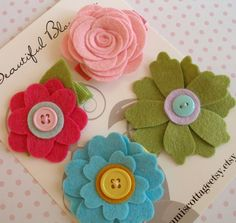 Pretty felt flowers - would be cute hair clips for little girls