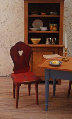 French Country Red Distressed Sweetheart Chair 1/12th Scale Dollhouse Miniature Furniture