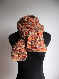 Knit Scarf Cable and Lace Scarf Knitted Scarf Fall by KnitsByNat
