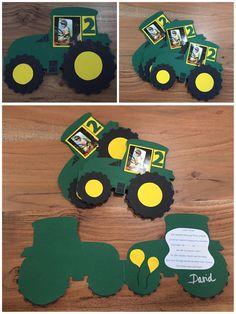 Tractor Invitation Card For Children's Birthday Tractor Tractor Invitation Card … - Kinderspiele 2020 Tractor Birthday, Baby Birthday, Free Birthday, Diy Birthday Invitations, Teenager Birthday, Unicorn Party, Invitation Cards, Tractors, Workbench Plans