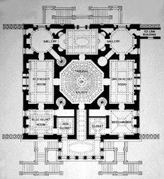 English Neo- Palladian and GeorgianFloor Plans- The typical rectangular block main house still dominates the site. Imiatating the tripartaite compositions of Palladio, some larger examples may have wings with smaller dependencies. Large and small houses have either double-pile plans with halls running lengthwise or adapted Palladian plans. The integration of rectangular, square, oval, elliptical, and hexagonal spaces or rooms with apsial ends appears.  Chiswick Plan