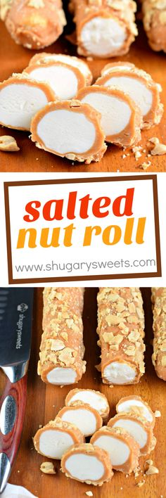 Salted Nut Roll is a candy store classic. You can make it at home, and give all … Salted Nut Roll is a candy store classic. You can make it at home, and give all your favorite people a homemade Christmas gift this year! Just Desserts, Delicious Desserts, Dessert Recipes, Holiday Baking, Christmas Baking, Homemade Christmas Gifts Food, Christmas Candy, Christmas Recipes, Christmas Cookies