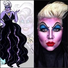 This Ursula makeup really stood out to me because of its colors but still has highlight and shadow which would be fun to play with. Ursula Makeup, Maquillage Ursula, Maquillage Halloween, Halloween Cosplay, Halloween Make Up, Halloween Face Makeup, Little Mermaid Makeup, Disney Makeup, Makeup Art