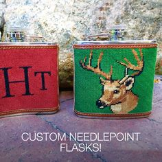 A drink and a #stitch maybe? Many times, we find ourselves wishing we had a quick way to add a little bit of our favorite libation to a drink when we're #relaxing on the beach, camping, or attending an event. 🏕️ Drinks are meant to be shared with #friends and a #custom #needlepointflask is the perfect way to start a conversation to go along with a drink. 🍹 Beach Camping, Flasks, Drink Sleeves, Needlepoint, Conversation, Belts, Cross Stitch, Kit, Times