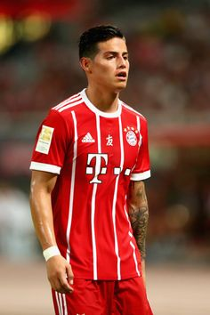 James Rodriguez of Bayern Muenchen looks on during the Audi Football Summit 2017 match between Bayern Muenchen and Arsenal FC at Shanghai Stadium during the Audi Summer Tour 2017 on July 19, 2017 in Shanghai, China.